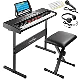 Ashthorpe 61-Key Digital Electronic KeyboardPiano with Light Up Keys, Includes Stand, Bench, Headphones, Mic and Keynote Stickers