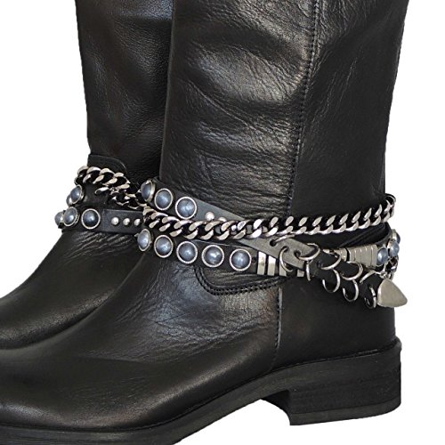 GlamIt Fashion 1 Paar Stiefelbänder aus Leder zum 3-fach Wickeln - Made in Italy