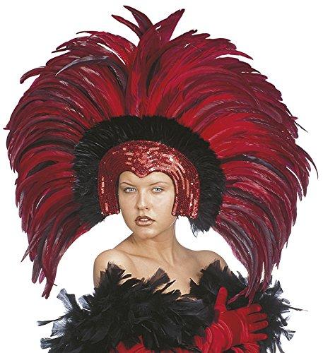 WIDMANN Accessorio Costume Carnevale Brasiliano, Copricapo Piume Brazil *19660-rosso