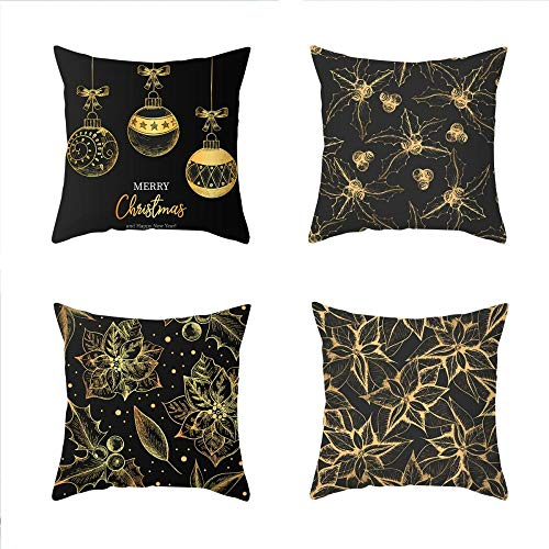 NLNL 4-Piece Set Christmas Pillowcase Black Gold Series Linen material Cushion Cover Office Sofa Cushion Pillowcase-style:9