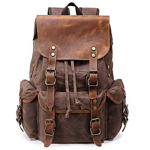 Zaino in tela cerata per uomo Vintage 15.6 Zaino in pelle Bookbag portatile per viaggio, grande