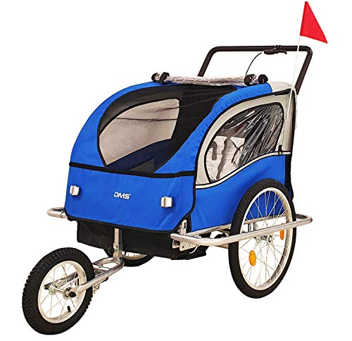 DMS® Fahrradanhänger 2 in 1 Kinderanhänger Fahrrad Anhänger Jogger Radanhänger Kinderwagen Kinderfahrradanhänger für 2 Kinder 5-Punkt Sicherheitsgurt, Radschutz FH-02 (Blau)