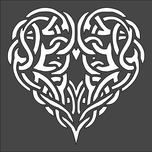 5.5x5.5 Celtic Heart Knot Stencil Celtic Stencil Reusable Celtic Painting Stencil Large Celtic Stencil Celtic Design Stencil by BSHOPAMZ