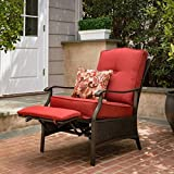 Better Homes and Gardens Providence Wicker Outdoor Patio Recliner With Matching Accent Pillow, Red (FRS62227RR)