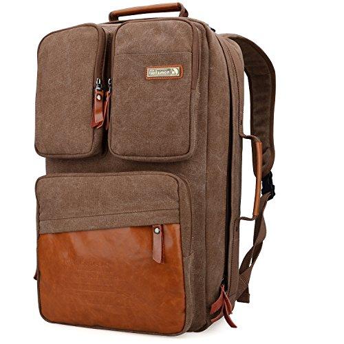 WITZMAN Vintage Canvas Backpack Carry on Travel Backpack for Men Duffel Bag Hiking Rucksack (6617 brown)