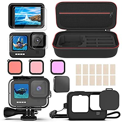 Deyard Accessories Kit for GoPro Hero 9, Shockproof Carry Bag + Waterproof Case + Tempered Glass Screen Protector + Silicone Cover + Snorkel Filter Bundle from Deyard