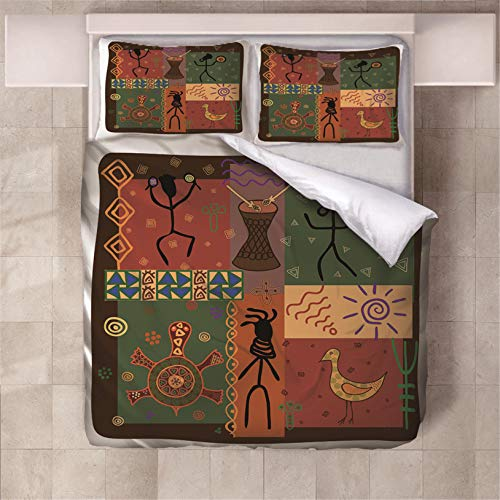 Fundas Nórdica Cama Rayas africanas 3D Estampado Juego de Ropa de Cama Fundas Edredón Nórdico Microfibra Niños Adultos 260x220cm con 2 Fundas de Almohada