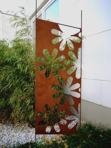Zen Man Edelrost Garten Sichtschutz aus Metall 1mm Rost Gartenzaun Gartendeko edelrost Sichtschutzwand H165*50cm 030935-2, Fuss=20cm