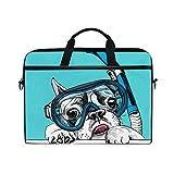 LOSNINA Laptop Tasche 15-15.4 Zoll,Eine französische Bulldogge in der Tauchmaske mit Gefäß auf...