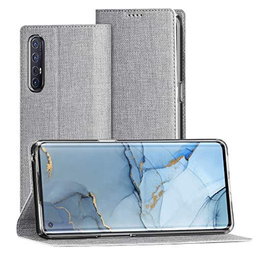 FUNMAX+ Oppo Find X2 Neo 5G Hülle, PU Leder Handyhülle mit Kartenfach, Schutzhülle Hülle Tasche Flip Cover Standfunktion Stoßfest Brieftasche für Find X2 Neo (Grau)