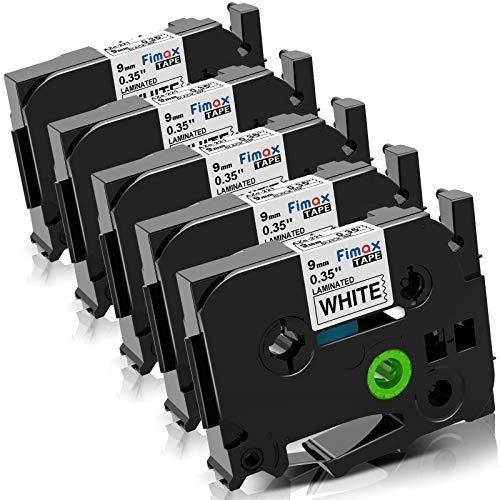 Fimax Kompatibel Label Tape als Ersatz für Brother 9mm TZe-221 Tz-221 Tze221 Aze221 P-touch PT-H100L H100r D400 D600 PT-1010 (schwarz auf weiß) 5er