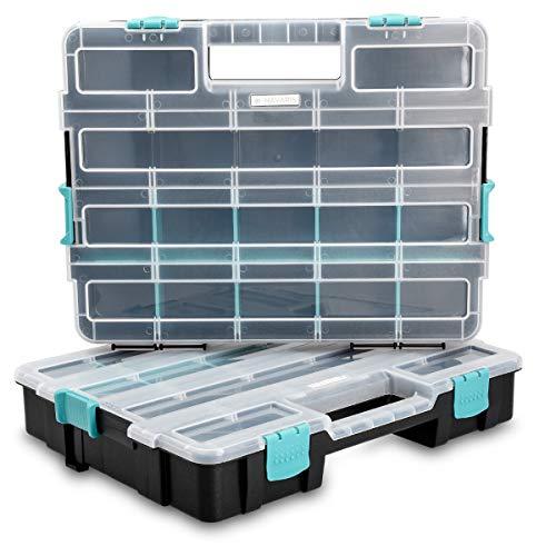 Navaris Kleinteile Organizer Sortierkasten zweistöckig - 37,5x29x13,4cm - Verstellbare Fächer - Schrauben Sortimentskasten Box leer ohne Zubehör