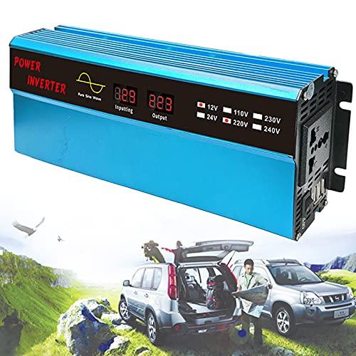 YNITJH Sinusoidal Pura Inversor Convertidor de Voltaje Transformador para Coche,con Tomas y USB,Pantalla Digital 2000w Pico,para Elementos Esenciales de Viaje en camión/RV,12Vto220V-1000W