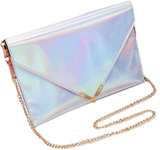 Monique Women Holographic Clutch Envelope Handbag Small Cross-body Bag Shoulder Bag
