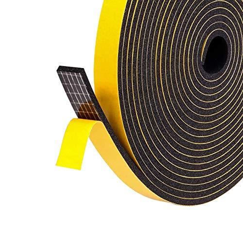 fowong Joint adhésif pour Porte Fenêtre 2 rouleaux 6mm X 1.5mm X 10m Joint Isolation en Mousse Caoutchouc Multi-fonction Coupe vent Calfeutrer Protéger Évier Velux - Mousse noir...