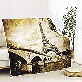 SPXUBZ Manta de franela para sofá cama, colección americana, estilo vintage, Eiffel, ultra suave, acogedora manta para adultos o niños, 50 x 60 pulgadas