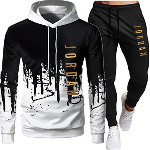 Jordan - Tuta da uomo, composta da felpa con cappuccio e pantaloni, 2 pezzi, vestibilità larga/oversize bianco-a L