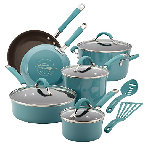 Rachael Ray Cucina Hard Porcelain Enamel Nonstick Cookware Set, 12-Piece, Agave Blue
