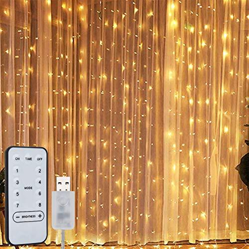 Willingood Lichterkette, Lichtervorhang 3 * 3m, Lichterketten für Aussen Drinnen Led Lichterkette mit Fernbedienung Timer USB für Zimmer Fenster Party Deko 300 LED Curtain Lights Warmweiß