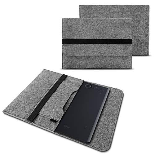 NAUC Sleeve Hülle für Wacom Intuos Pro L Grafiktablett Tasche Stifttablett Cover strapazierfähiger Filz mit Innentaschen und sicherem Verschluss Grau, Farbe:Grau