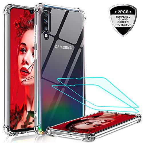 LeYi Cover per Samsung Galaxy A50 Custodia con Vetro Temperato [2 Pack], Nuovo Silicone Trasparente Hard PC Bumper TPU Protettiva Smartphone Case per Custodie Samsung Galaxy A50 Crystal Clear