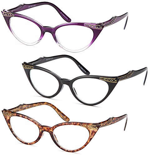 Gamma Ray Women's Reading Glasses - 3 Pairs Cat Eye Ladies Fashion Readers 1.75