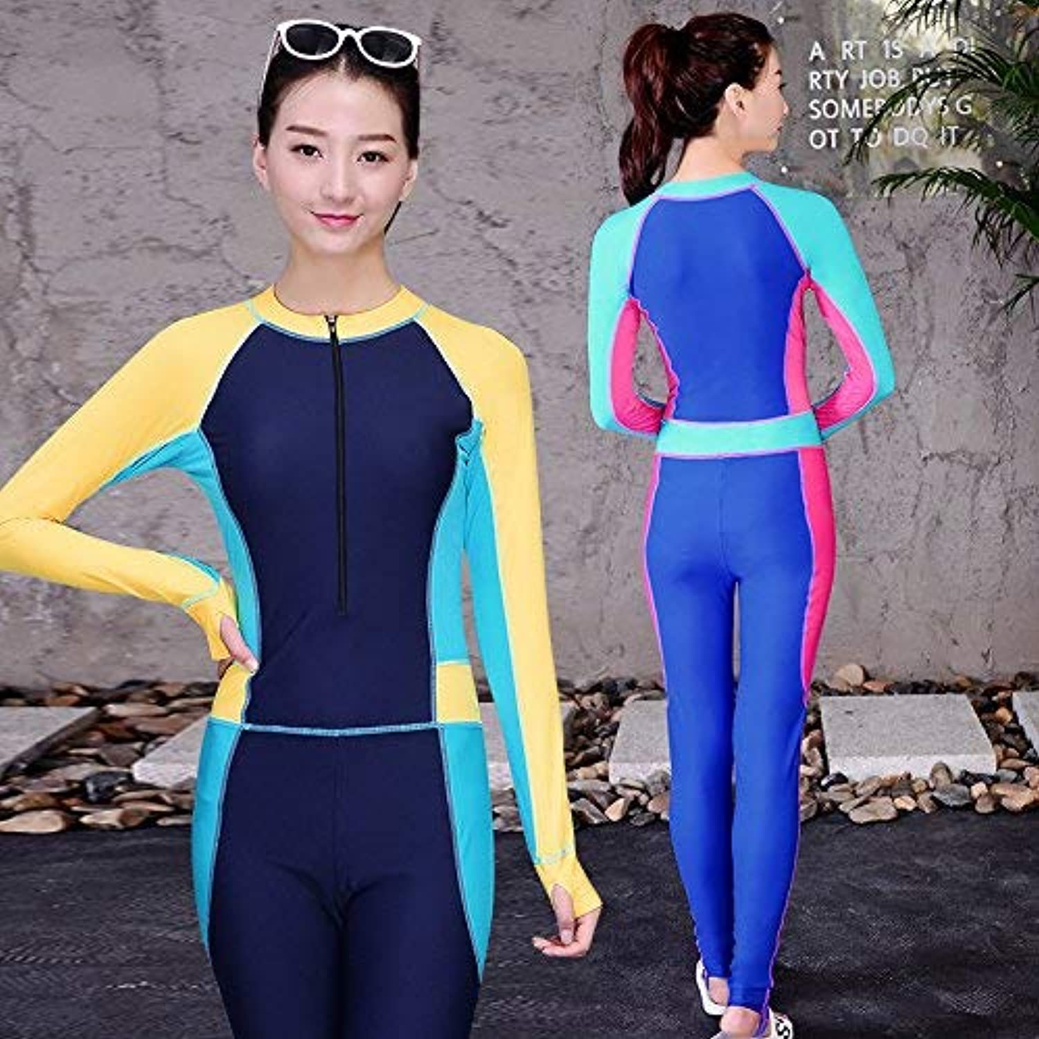 Women Siamese Swimwear Swim Wear LongSleeved Body Warm Jellyfish Surfing, Sapphire bluee,XL (color   As Shown, Size   One Size)