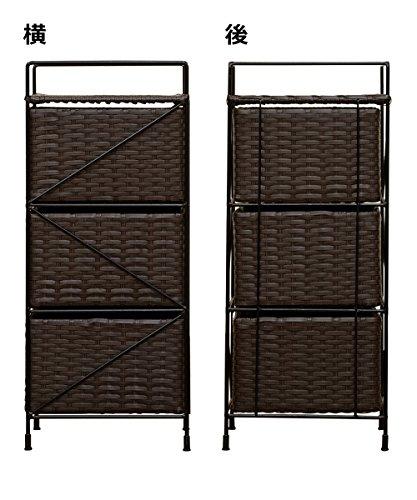 【脱衣所や洗面所にぴったり】ランドリー収納ラックアジアン家具3段(ブラウン/BR)