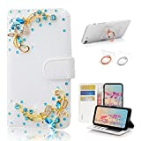 STENES Bling Wallet Phone Case Compatible with Samsung Galaxy S21 Plus Case - Stylish - 3D Handmade Pretty Butterfly Design Leather Cover with Ring Stand Holder [2 Pack] - Blue