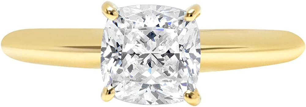 2ct Cushion Brilliant Cut Classic Solitaire Designer Wedding Bridal Statement Anniversary Engagement Promise Ring Solid 14k Yellow Gold