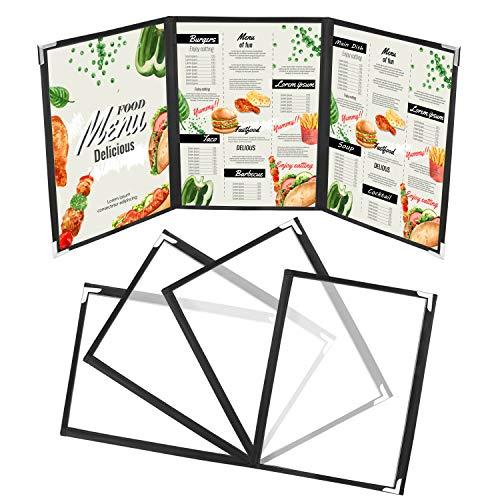 Cubierta Tres Pliegues (Pack de 5) - A4 Vinilo Transparente Tres Pliegues Estilo Americano con Esquinas de Acero Inoxidable para Restaurante, Bar y Cafetería Carpeta Menús