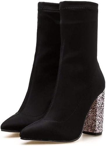 HBDLH Chaussures pour Femmes Sexy Haut De 10 Cm De Tissu élastique Super Talon Haut Paillettes Dur Au Pied Tête Pointue des Bottes.