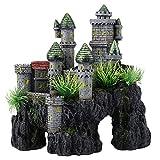DaMohony Castillo de resina de resina de la decoración de los peces, castillo de dibujos animados adornos en forma de castillo de acuario peces escond