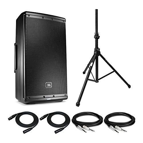 JBL EON612 12-Inch Two-way Multipurpose Self-Powered Sound Reinforcement System with Knox Tripod Air-Cushion Speaker Stand and 2 XLR Cables Bundle (6 Items)