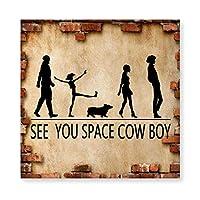 See You Space Cow Boy 木製 額縁 フォトフレーム 壁掛け 木製 横縦兼用 絵を含む 40×40cm
