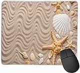 Tappetini per mouse da spiaggia Diverse conchiglie e stelle marine Sabbia Divertenti stelle marine Scrivania Tappetino per mouse Oceano Regali di Halloween personalizzati