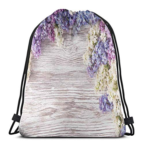 DPASIi Drawstring Shoulder Backpack Travel Daypack Gym Bag Sport Yoga, Lilac Flowers Bouquet On Wood Table Spring Nature Romance Love Theme,5 Liter Capacity,Adjustable.