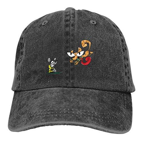 huatongxin Cat Catching Mouse Cartoon Cappello da Cowboy Adjustable Cappellino da Baseball Cappello da Sole Peaked Cappellino Trucker Black
