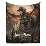 CUXWEOT Custom Blanket with Name Text,Personalized Watercolor Dragon Super Soft Fleece Throw Blanket for Couch Sofa Bed (50 X 60 inches)