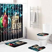 シャワーカーテンクリスマス 風呂マットセットシャワーカーテン防水カーテン敷物浴室トイレカーペットメリークリスマス4本 エレガント1124 (Color : D, Size : S(4PCS))