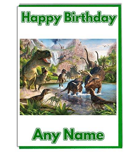 Geburtstagskarte mit Dinosaurier-Motiv, personalisierbar–alle Namen und Alter (evtl. nicht in deutscher Sprache)