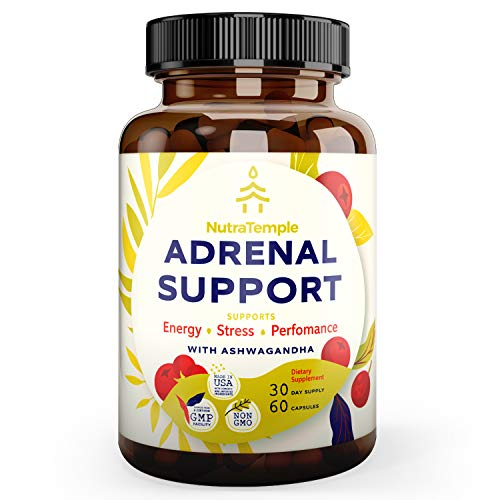 Adrenal Support & Cortisol Manager – Extra Strength Adrenal Fatigue Supplements for Stress Relief & Anxiety, Focus Factor with Ashwagandha, Rhodiola Rosea, L Thyrosine, Holy Basil – 60 Non GMO Pills