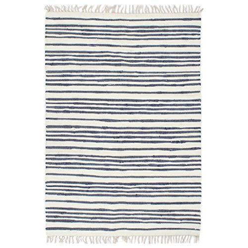 UnfadeMemory Handgewebter Chindi-Teppich Baumwolle Teppiche Flurteppich Wohnzimmerteppich Schlafzimmer Handwebteppich, Streifenmuster und Dekorativen Quasten (120x170cm, Blau/Weiß-Typ2)