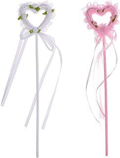 KODORIA 2PCS Fairy Princess Wands Kids Girl Magical Sceptre Birthday Party Costume Cosplay Fancy Dress