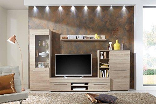 Wohnwand Wohnzimmerschrank Schrankwand TV-Element Anbauwand CANNES in Eiche Sonoma – 288 cm breit / 181 cm hoch / 36 cm tief Made in Germany - 2