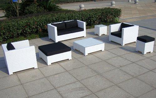 Baidani Gartenmöbel-Sets 10c00034 Designer Lounge Sunrise, 2-er Sofa, 2 Sessel, 2 Hocker, 1 Couchtisch, Beistelltisch mit Glasplatte, weiß - 3