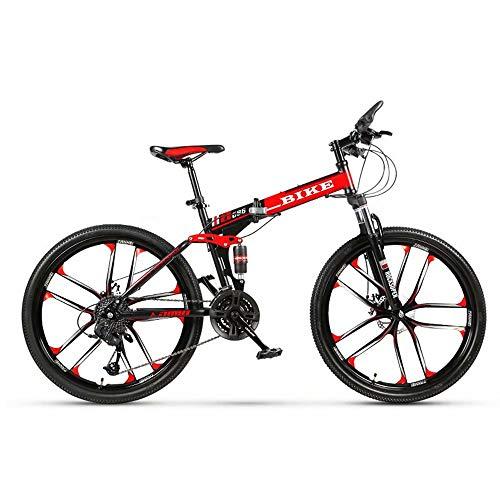Novokart-Plegable Deportes/Bicicleta de montaña 24/26 Pulgadas 10 Cortador, Negro&Rojo