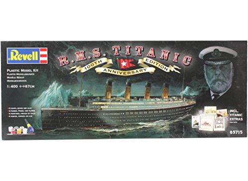 """Revell Modellbausatz Schiff 1:400 – Geschenkset """"100 Jahre TITANIC"""" im Maßstab 1:400, Level 5, originalgetreue Nachbildung mit vielen Details, Kreuzfahrtschiff, 05715 - 2"""