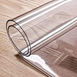 Lehom 48 x 24 Inch Plastic Sheet 2mm Thick PVC Clear Table Cover Protector Transparent Sheets for Dining Room Coffee Table Writing Desk