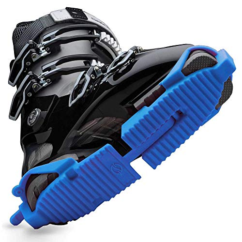 Ski Skooty Skiing Boot Traction Cleats - (1-Pair, Blue) - Adjustable Track Comfort Soles for Protection and Walking in Ski Boots